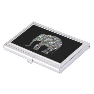 Customize Sparkly colourful silver mosaic Elephant Business Card Holder