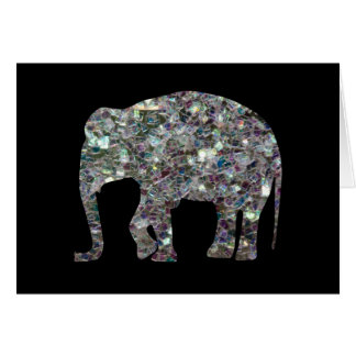 Customize Sparkly colourful silver mosaic Elephant Card