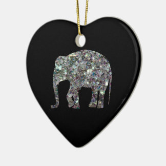 Customize Sparkly colourful silver mosaic Elephant Ceramic Heart Decoration