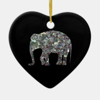 Customize Sparkly colourful silver mosaic Elephant Double-Sided Heart Ceramic Christmas Ornament