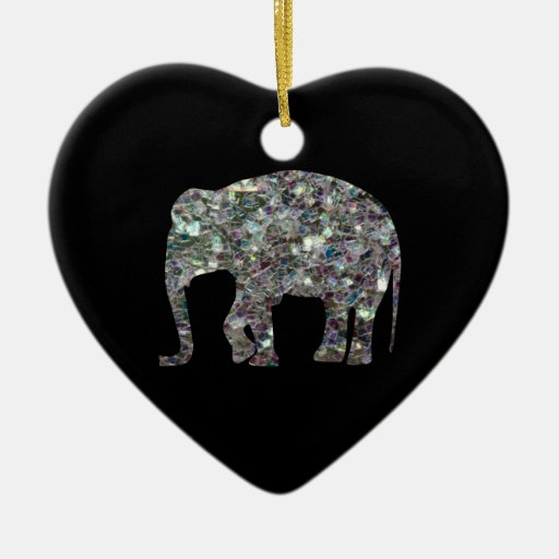 Customize Sparkly colourful silver mosaic Elephant Ornaments