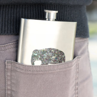 Customize Sparkly colourful silver mosaic Elephant Hip Flask