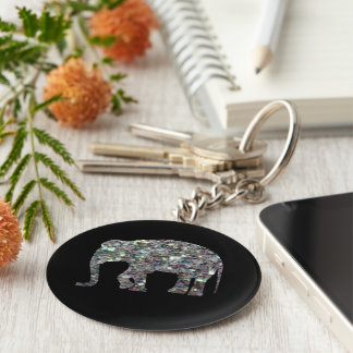 Customize Sparkly colourful silver mosaic Elephant Key Ring
