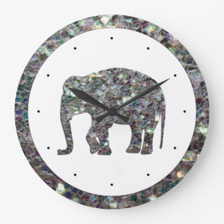 Customize Sparkly colourful silver mosaic Elephant Large Clock