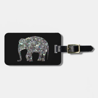 Customize Sparkly colourful silver mosaic Elephant Luggage Tag