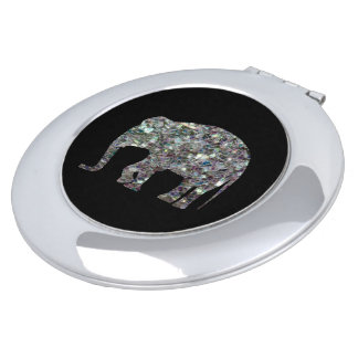 Customize Sparkly colourful silver mosaic Elephant Makeup Mirrors