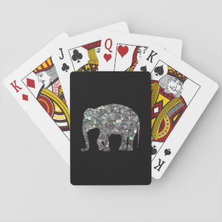 Customize Sparkly colourful silver mosaic Elephant Playing Cards