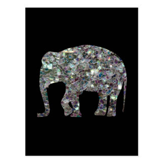 Customize Sparkly colourful silver mosaic Elephant Postcard