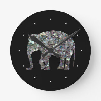 Customize Sparkly colourful silver mosaic Elephant Round Clock
