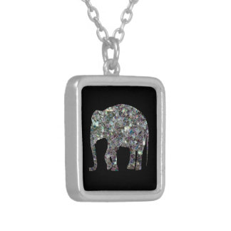 Customize Sparkly colourful silver mosaic Elephant Silver Plated Necklace