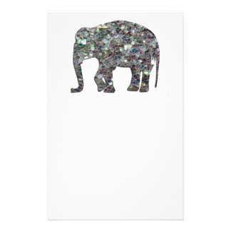 Customize Sparkly colourful silver mosaic Elephant Stationery