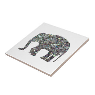 Customize Sparkly colourful silver mosaic Elephant Tile