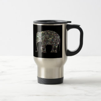Customize Sparkly colourful silver mosaic Elephant Travel Mug