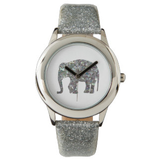 Customize Sparkly colourful silver mosaic Elephant Watch