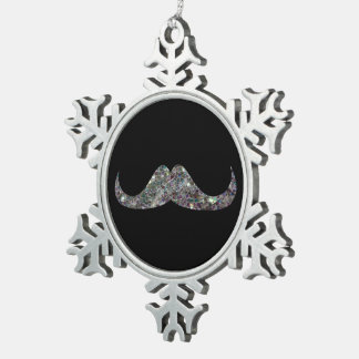 Customize Sparkly silver mosaic Mustache Snowflake Pewter Christmas Ornament