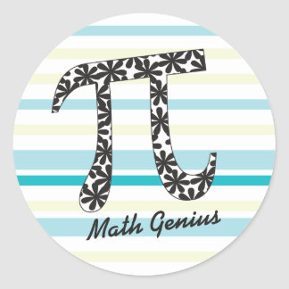 Customize Striped Math Floral Pi Symbol Stickers
