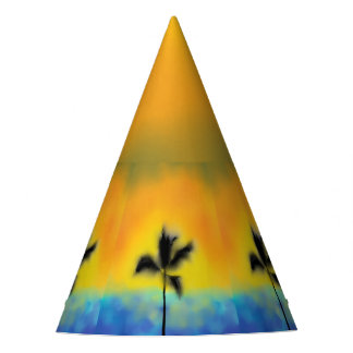 CUSTOMIZE SUNSET PALM TREE PARTY HAT