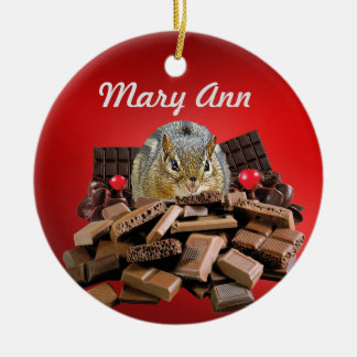 Customize Sweetest Day Chocolate Chipmunk Christmas Ornament