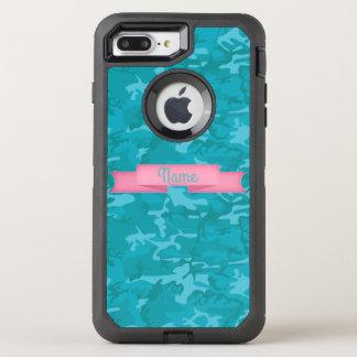 Customize Text  - Blue Camo OtterBox Defender iPhone 8 Plus/7 Plus Case