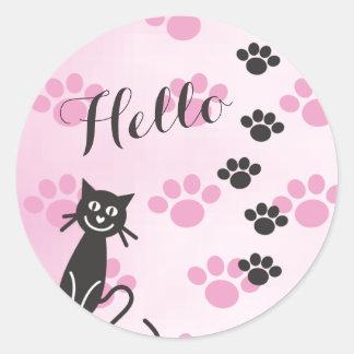 Customize Text Cat Pink Black Paw Prints Round Sticker