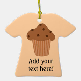 Customize this Choc Chip Muffin graphic Double-Sided T-Shirt Ceramic Christmas Ornament