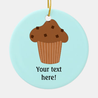 Customize this Choc Chip Muffin graphic Double-Sided Ceramic Round Christmas Ornament