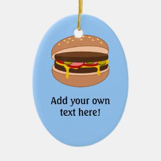 Customize this Hamburger graphic Ceramic Oval Decoration
