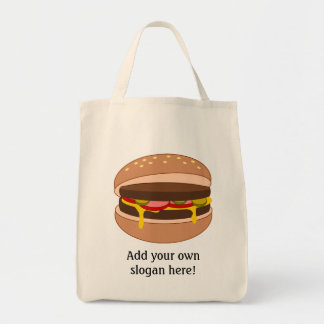 Customize this Hamburger graphic Grocery Tote Bag