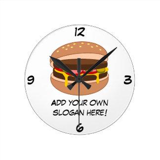Customize this Hamburger graphic Round Clock