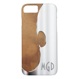 Customize this handsome silver and leather iPhone 8/7 case