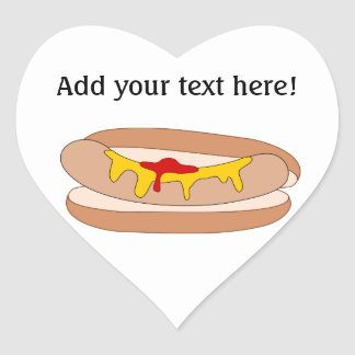 Customize this Hot Dog graphic Heart Sticker
