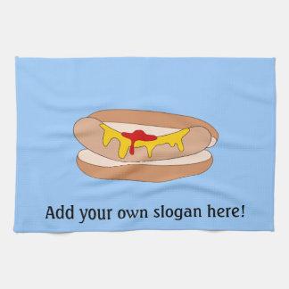 Customize this Hot Dog graphic Tea Towel