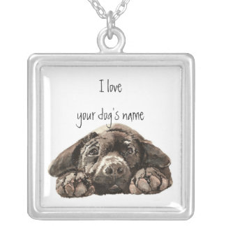Customize this I love my dog- Black Labrador Silver Plated Necklace