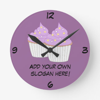 Customize this Lilac Cupcake graphic Round Clock