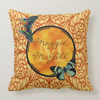 Customize this pretty yellow, filigree & butterfly cushion