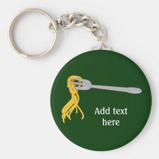 Customize this Spaghetti Pasta graphic Basic Round Button Key Ring