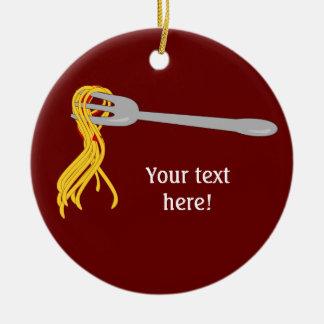 Customize this Spaghetti Pasta graphic Round Ceramic Decoration