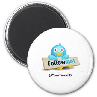 Customize Tweet ID Follow Me Bird Apparel Gifts 6 Cm Round Magnet