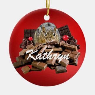 Customize Valentine's Day Chocolate Chipmunk Christmas Ornament