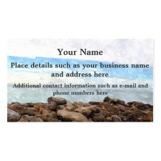 Customize Watercolor Beach Scene Business Cards