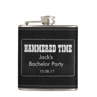 Customize with your text - black leather hip flask