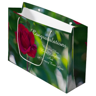 Customize You Text Red Rose Large Gift Bag
