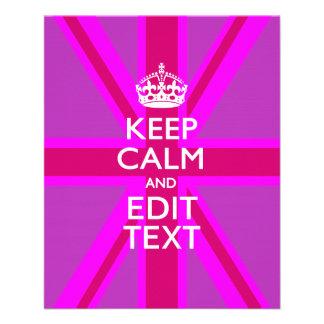 Customize Your Keep Calm Edit Text on Pink Union J 11.5 Cm X 14 Cm Flyer
