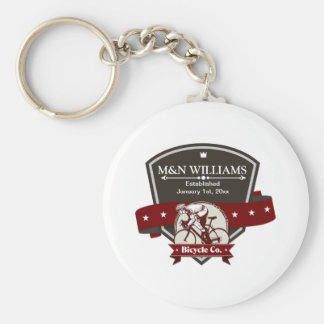 Customize Your Name Bicycle Company Logo Basic Round Button Key Ring