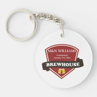 Customize Your Name Brewhouse Logo Double-Sided Round Acrylic Key Ring