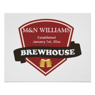 Customize Your Name Brewhouse Logo Poster