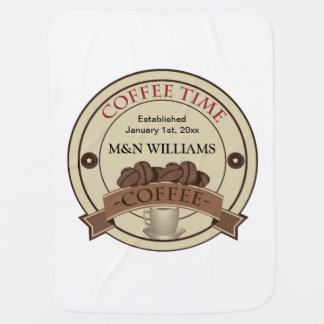 Customize Your Name Coffee Time Logo Baby Blankets