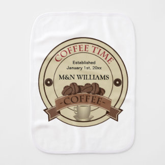 Customize Your Name Coffee Time Logo Baby Burp Cloths