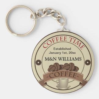 Customize Your Name Coffee Time Logo Basic Round Button Key Ring