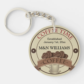 Customize Your Name Coffee Time Logo Double-Sided Round Acrylic Key Ring